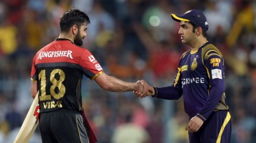 Rival captains Virat Kohli and Gautam Gambhir shake hands after an IPL 2016 game