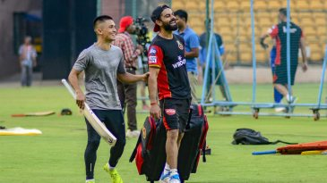 Bengaluru FC captain Sunil Chhetri joined Virat Kohli at the RCB camp