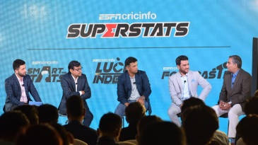 The panel discussion at the launch of ESPNcricinfo's Superstats in Mumbai - [L to R] Raunak Kapoor, Sambit Bal, Rahul Dravid, Sanjay Manjrekar and Dr Raghunathan Rengaswamy