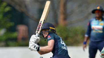 England's Amy Jones plays a shot during the third one day international against Sri Lanka