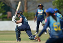 England's Amy Jones plays a shot during the third one day international against Sri Lanka at the Chilaw Marians Grounds in Katunayake, March 21, 2019