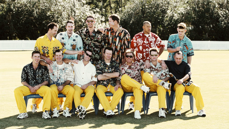The Australian one-day squad pose in Hawaiian shirts in Brisbane