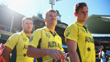 Aaron Finch, David Warner and Steven Smith at the 2015 World Cup. How will it be in 2019?