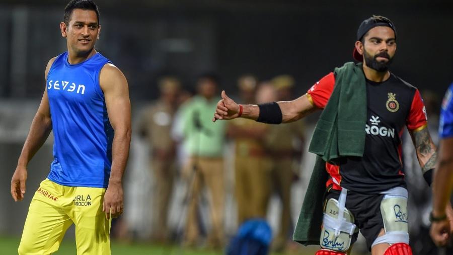 MS Dhoni and Virat Kohli in Chennai before the IPL 2019 opening game