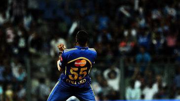 Kieron Pollard celebrates a wicket