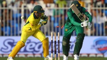 Shoaib Malik is bowled