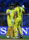Shaun Marsh congratulates Aaron Finch, Pakistan v Australia, 1st ODI, Sharjah, March 22, 2019
