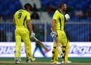 Aaron Finch celebrates by kissing the Australia badge, Pakistan v Australia, 1st ODI, Sharjah, March 22, 2019