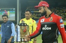Sanjay Manjrekar, MS Dhoni and Virat Kohli walk out for the toss, Chennai Super Kings v Royal Challengers Bangalore, Chennai, IPL 2019, March 23, 2019