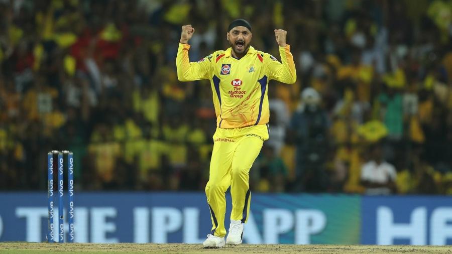 Harbhajan Singh celebrates a wicket