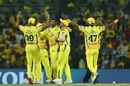 CSK celebrate with Harbhajan Singh after his wickets, Chennai Super Kings v Royal Challengers Bangalore, Chennai, IPL 2019, March 23, 2019