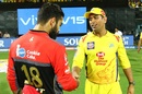 A joyous MS Dhoni shakes hands with a downcast Virat Kohli, Chennai Super Kings v Royal Challengers Bangalore, Chennai, IPL 2019, March 23, 2019