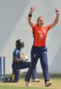 Freya Davies celebrates after dismissing Umesha Thimashini, Sri Lanka v England, 1st T20I, March 24, 2019