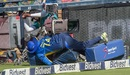 Angelo Mathews crashes into a TV camera, South Africa v Sri Lanka, 3rd T20I, Johannesburg, March 24, 2019