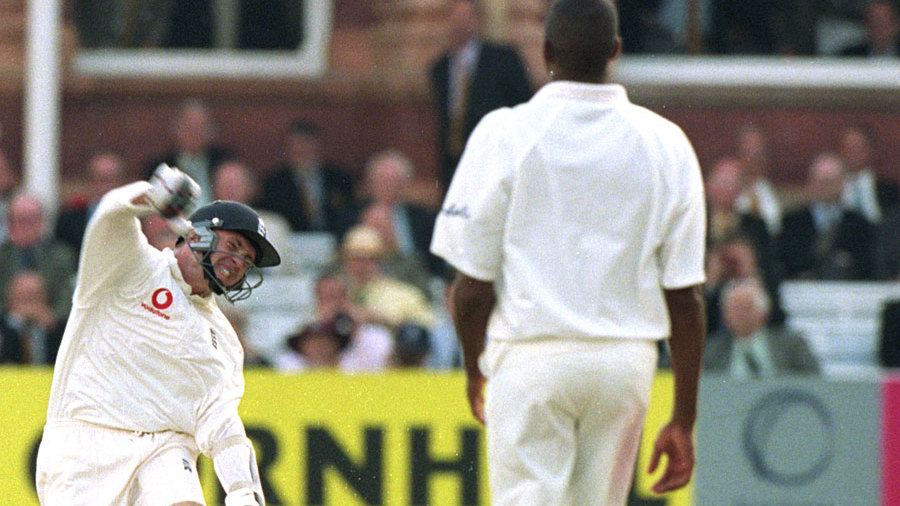 Dominic Cork celebrates after hitting the winning runs against West Indies