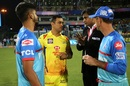 Match referee Javagal Srinath explains the dos and don'ts to MS Dhoni and Shreyas Iyer, Delhi Capitals v Chennai Super Kings, Indian Premier League 2019, New Delhi, March 26, 2019