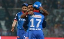 Amit Mishra celebrates a wicket with Rishabh Pant, Delhi Capitals v Chennai Super Kings, Indian Premier League 2019, New Delhi, March 26, 2019