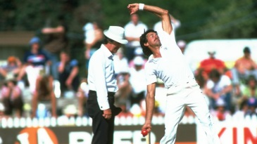Bruce Yardley bowls during the Third Test match against England
