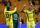 Pat Cummins and Glenn Maxwell celebrate, Pakistan v Australia, 3rd ODI, Abu Dhabi, March 27, 2019