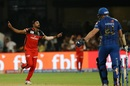 Mohammed Siraj celebrates a wicket, Royal Challengers Bangalore v Mumbai Indians, IPL 2019, Bengaluru, March 28, 2019