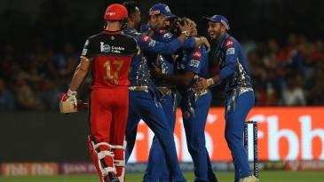 Mumbai Indians celebrate a thrilling win