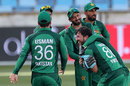 Pakistan's fielders celebrate the dismissal of Marcus Stoinis, Pakistan v Australia, 4th ODI, Dubai, March 29, 2019