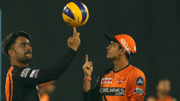 Siddarth Kaul looks on in awe as Rashid Khan spins a different kind of ball