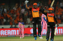 Rashid Khan postures as Yusuf Pathan screams in delight after Sunrisers Hyderabad's win, Sunrisers Hyderabad v Rajasthan Royals, Indian Premier League 2019, Hyderabad, March 29, 2019