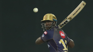 Andre Russell keeps his eyes on the ball