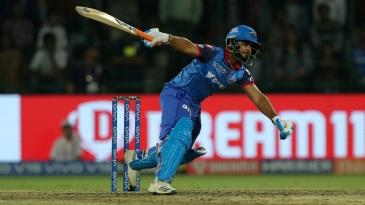 Rishabh Pant loses his balance while attempting a shot