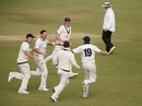 Scott Boland and team-mates celebrate the fall of the last wicket, Victoria v NSW, Sheffield Shield 2018-19, final, 4th day, Melbourne, March 31, 2019