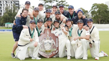 Victoria celebrate the  Sheffield Shield 2018-19 title win, their fourth in the last five years