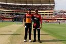 Bhuvneshwar Kumar and Virat Kohli at the toss, Sunrisers Hyderabad v Royal Challengers Bangalore, IPL 2019, Hyderabad, March 31, 2019