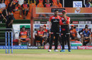 Umesh Yadav and Virat Kohli try to come up with a plan, Sunrisers Hyderabad v Royal Challengers Bangalore, IPL 2019, Hyderabad, March 31, 2019