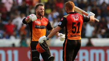 Jonny Bairstow and David Warner celebrate after Bairstow's hundred