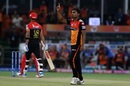 Sandeep Sharma celebrates the wicket of Virat Kohli, Sunrisers Hyderabad v Royal Challengers Bangalore, IPL 2019, Hyderabad, March 31, 2019