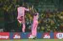 Dhawal Kulkarni and K Gowtham celebrate Kedar Jadhav's dismissal, Chennai Super Kings v Rajasthan Royals, IPL 2019, Chennai, March 31, 2019