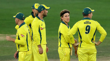 Adam Zampa and his Australian team-mates look on after dismissing Shan Masood