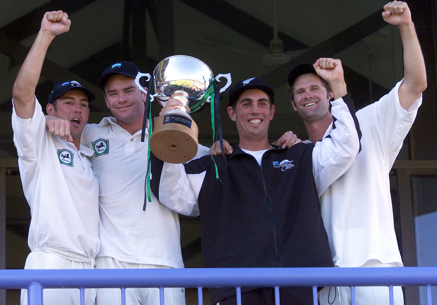 Matt Sinclair (second from right) made 214 on debut against West Indies in Wellington in 1999-2000 - still the highest score by a New Zealand Test debutant