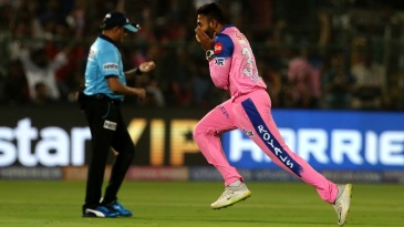 Shreyas Gopal goes on a celebratory run after picking up a wicket