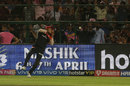 The ball pops out of Umesh Yadav's hands as he attempts to complete a catch, Rajasthan Royals v Royal Challengers Bangalore, IPL 2019, Jaipur, April 2, 2019