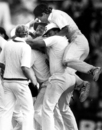 Peter Taylor, named man of the match, is swamped by teammates, 5th Test, England tour of Australia,the SCG, Sydney, Jan 15, 1987