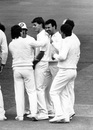 Phil Newport gets a pat on the back after dismissing a Sri Lanka player, England v Sri Lanka, Only Test, Day One, Lord's, London, England, August 25, 1988