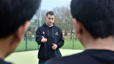 Alex Hales speaks at a Chance to Shine Street event