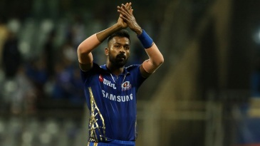 Hardik Pandya acknowledges the cheers after his match-winning performance