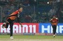 Mohammad Nabi in his follow-through, Delhi Capitals v Sunrisers Hyderabad, IPL 2019, Delhi, April 4, 2019