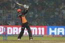 Mohammad Nabi stands tall and bunts one away, Delhi Capitals v Sunrisers Hyderabad, IPL 2019, Delhi, April 4, 2019