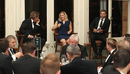 Mark Nicholas, Katherine Brunt and Dawid Malan at a q&a during the PCA Long Room Dinner, Lord's, April 12, 2018