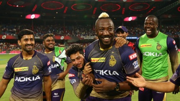 Andre Russell celebrates with his team