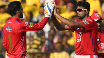 R Ashwin and KL Rahul celebrate the dismissal of Shane Watson